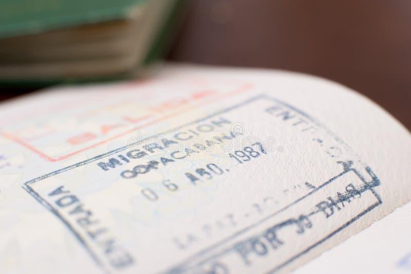 Copacabana airport brazilian passport visa. Detail of old passport with brazilian Copacabana airport visa stamp stock photos