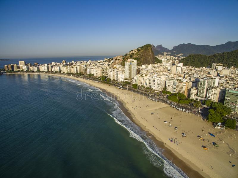 The most famous beach in the world. Wonderful city. Copacabana Beach in Copacabana district, Rio de Janeiro, Brazil. South America. The most famous beach in the royalty free stock images