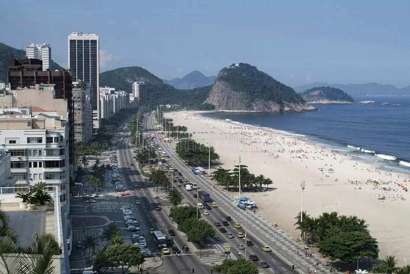 Copacabana  Beach Rio De Janeiro Brazil Stock Photography