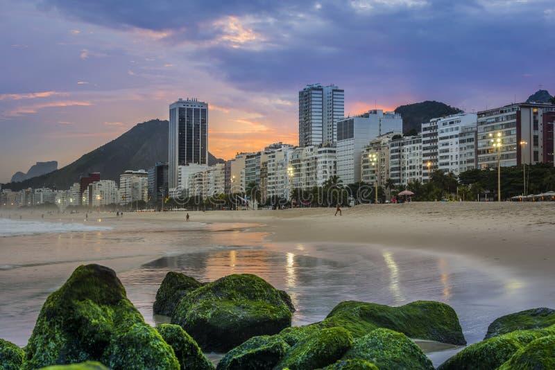 Copacabana beach at sunset, Rio de Janeiro, Brasil, Praia Copacabana landscape , Cityscape royalty free stock photos