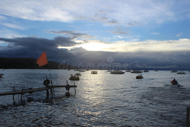 Copacabana jeziora titicaca zdjęcia stock