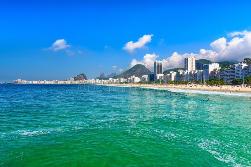 Copacabana Leme i plaża wyrzucać na brzeg w Rio De Janeiro, Brazylia obrazy royalty free