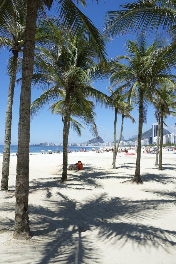 Copacabana strand Rio de Janeiro Palm Trees arkivbilder