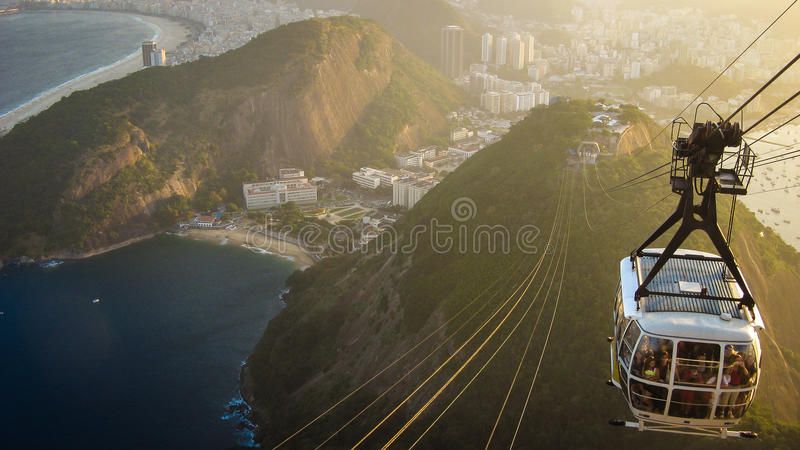 From Copacabana to the Sugarloaf. From the top of the Sugarloaf mountain in Rio de Janeiro, Brazil, one has a privileged view over the city, including the royalty free stock photography