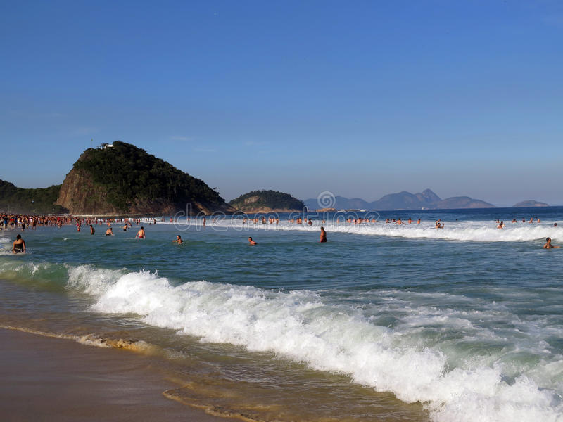 Copacobana Beach in Rio de Janeiro. Copacabana beach, located at the Atlantic shore. Copacabana Beach plays host to millions of revellers during the annual New royalty free stock photography