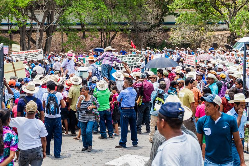 COPAN RUINAS, HONDURAS - APRIL 12, 2016: Indigenous people protest against minery near the archaeological park Copan royalty free stock images