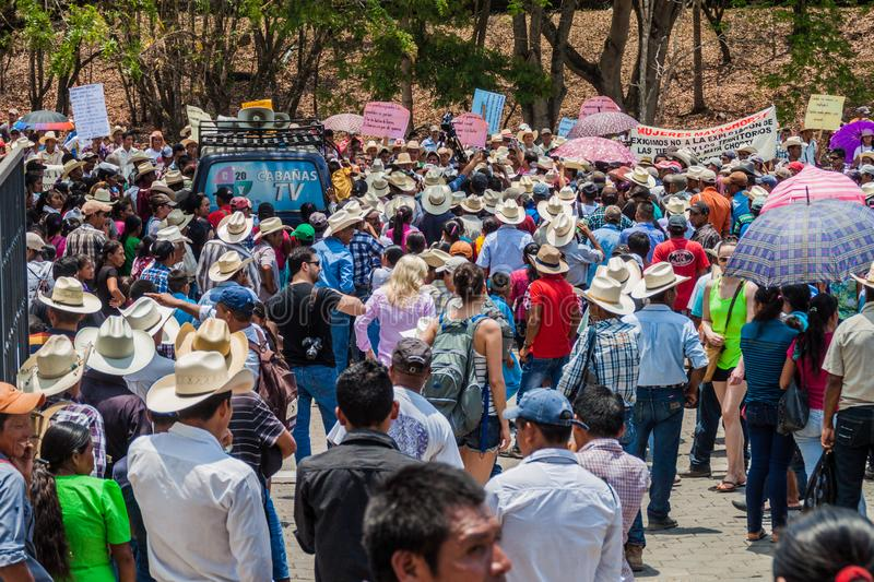 COPAN RUINAS, HONDURAS - APRIL 12, 2016: Indigenous people protest against minery near the archaeological park Copan royalty free stock photo