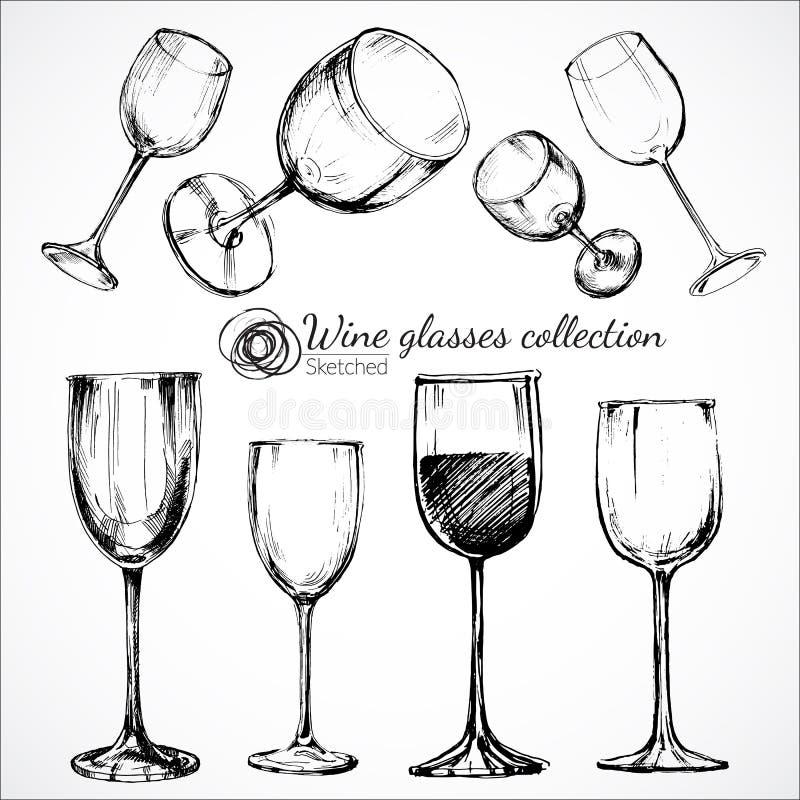 Copas de vino - ejemplo del bosquejo stock de ilustración