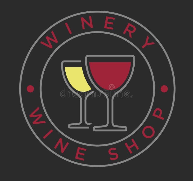 Copas de vino lineares del estilo del vector para la etiqueta del lagar ilustración del vector