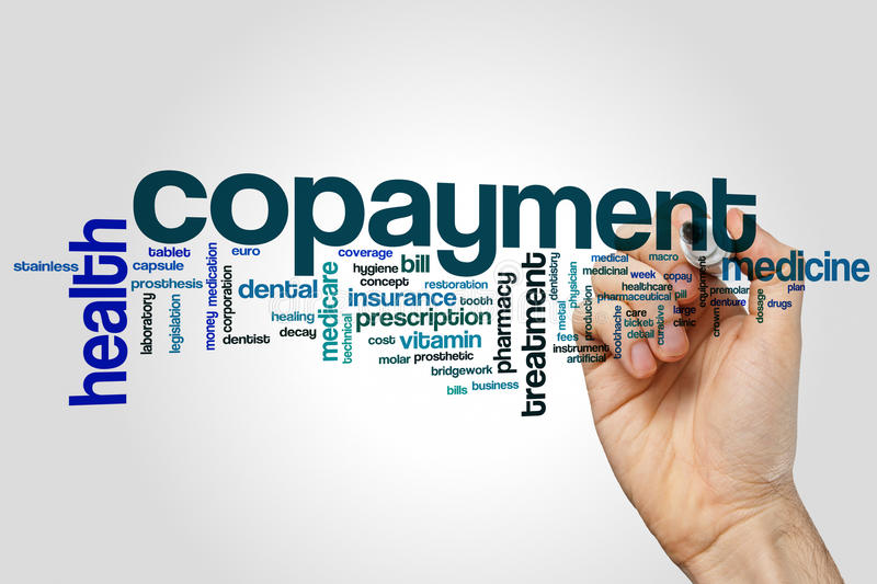 Copayment word cloud concept on grey background stock photos