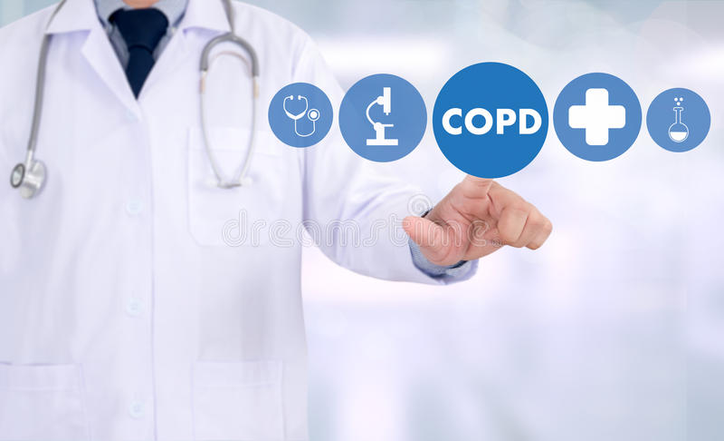 COPD慢性阻塞性肺病健康医疗concep 免版税库存图片