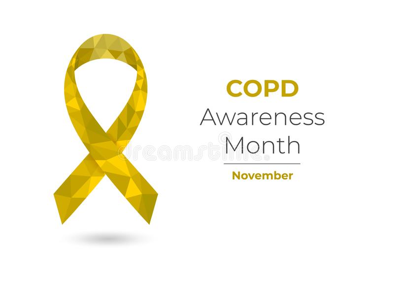 COPD Awareness Month yellow low poly ribbon royalty free illustration