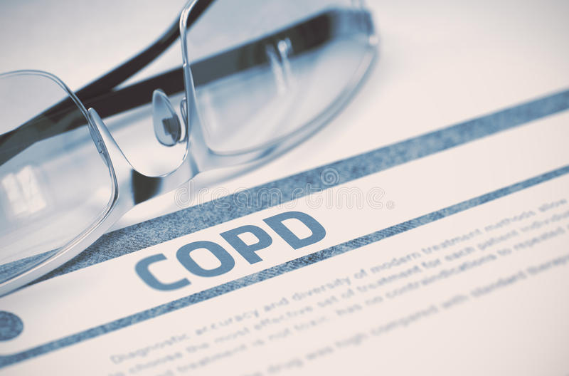 COPD - Printed Diagnosis. Medicine Concept. 3D Illustration. royalty free stock photo