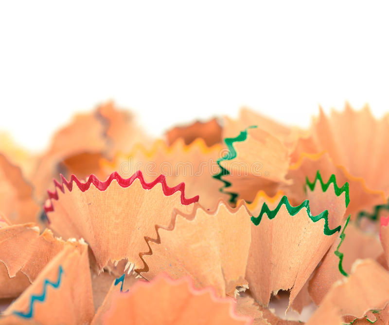 Copeaux en pastel colorés de crayon photographie stock