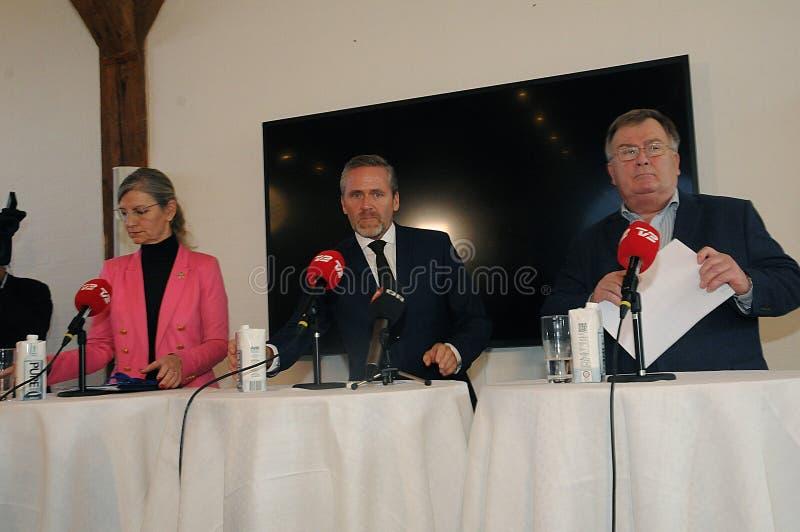 Copenhaga/Dinamarca 15 Em novembro de 2018 Os três ministros ministro dinamarquês de Dinamarca de Anders Samuelsen para Negócios  imagens de stock royalty free