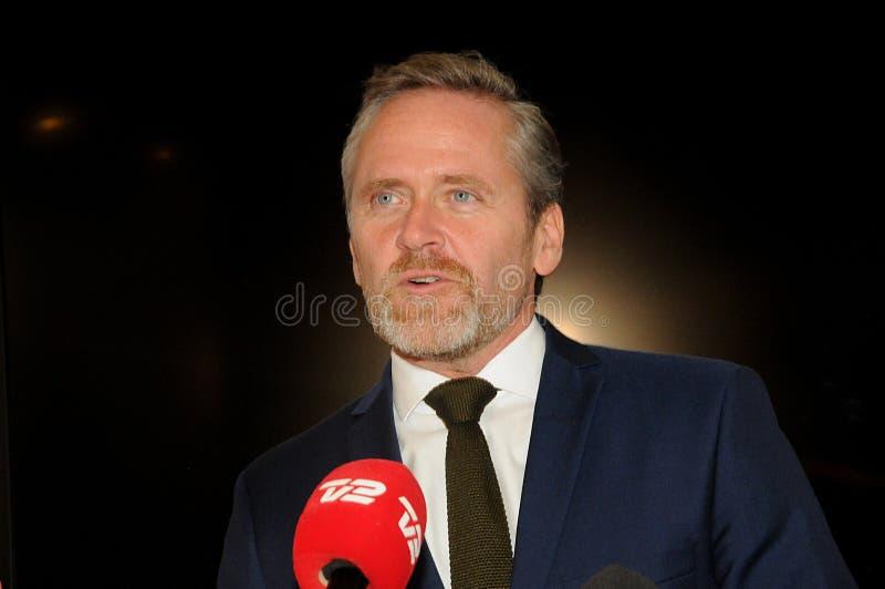 Copenhaga/Dinamarca 15 Em novembro de 2018 Os três ministros ministro dinamarquês de Dinamarca de Anders Samuelsen para Negócios  imagem de stock