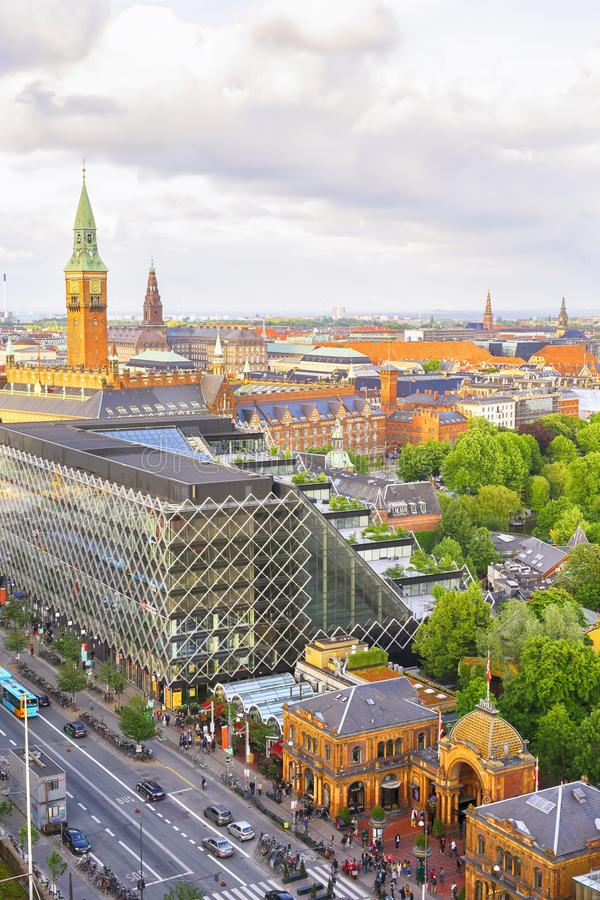 Copenhagen, Danmark. 06/01/2019 Aerial view of the old historical town and Tivoli entrance in the danish capital Copenhagen royalty free stock photography