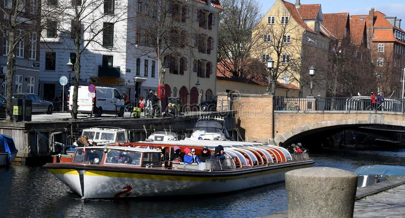 Boat crusing and visitors day on Christianshavn canal stock image