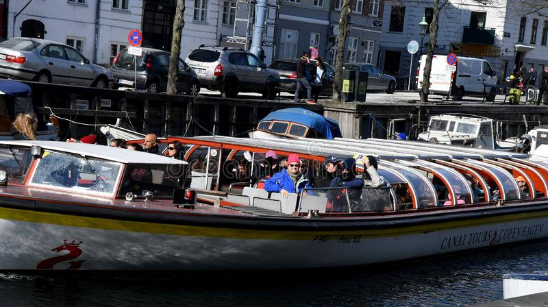 Boat crusing and visitors day on Christianshavn canal stock images