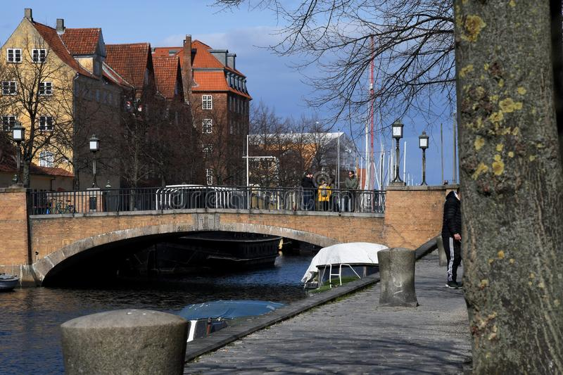 Boat crusing and visitors day on Christianshavn canal stock photo