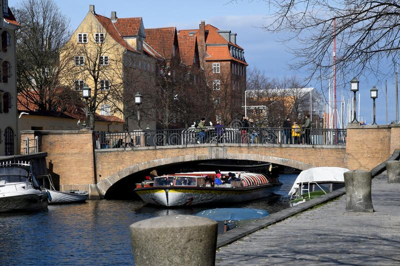 Boat crusing and visitors day on Christianshavn canal royalty free stock images