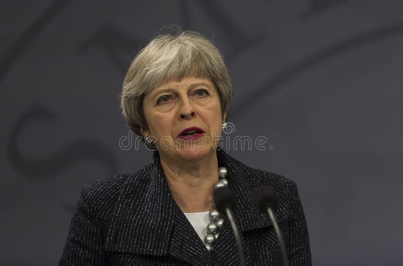 Theresa May Visits Danish Prime Minister in Copepenhagen royalty free stock images