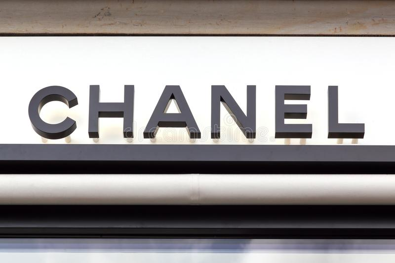 Chanel logo on a wall stock images