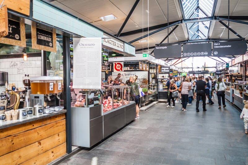 COPENHAGEN, DENMARK - AUGUST 28, 2016: Interior of Torvehallerne indoor food market in the centre of Copenhage. N stock photo