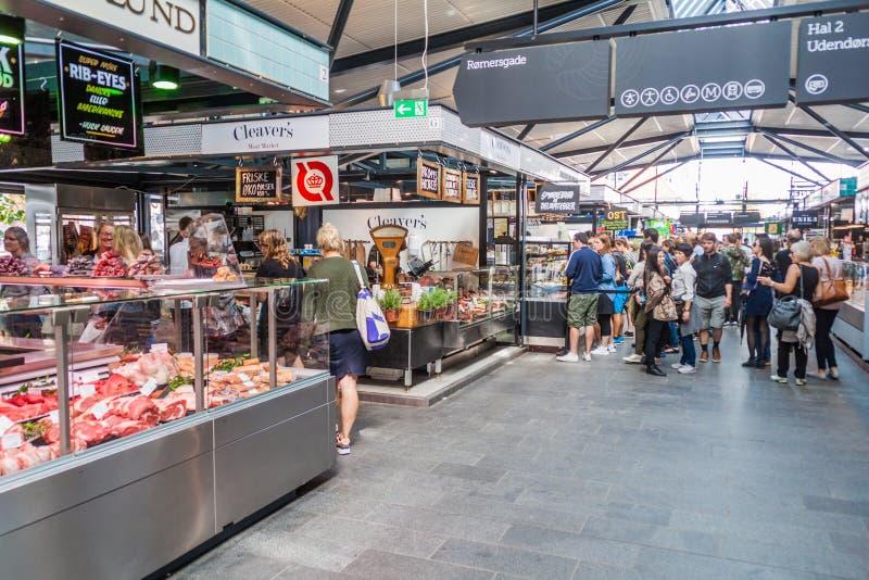 COPENHAGEN, DENMARK - AUGUST 28, 2016: Interior of Torvehallerne indoor food market in the centre of Copenhage. N royalty free stock photography