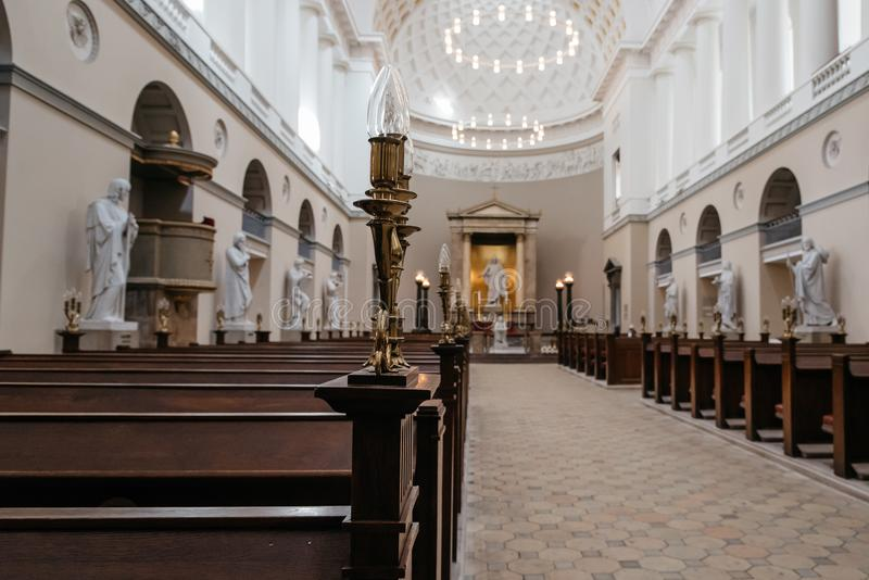 Interior view of the Church of Our Lady, the cathedral of Copenh royalty free stock image