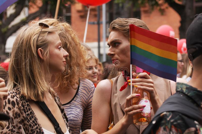 The annual Pride Parade LGBT. Impressions from gay and lesbians participating in the Gay Pride Parade with rainbow colors and flag stock images