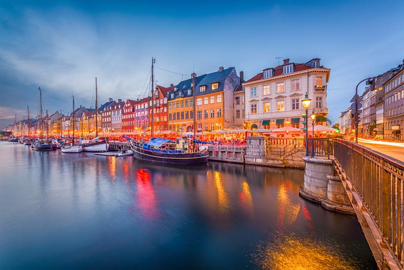 Copenhagen, Denmark Canal Skyline royalty free stock photos