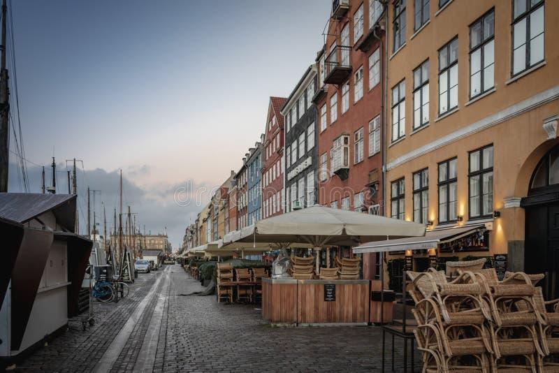 Copenhagen Nyhavn harbor in an early morning royalty free stock image