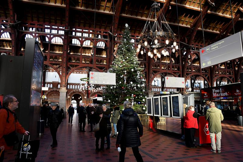 Christmas decorated with various arts and ornment s. Copenhagen/Denmark 04 December 2018. _Danish DSB danish pubic transportation arranged annual cbristmas royalty free stock image