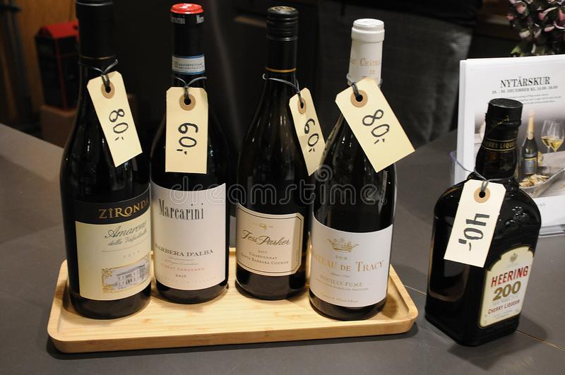 VARIOUS WINE SHOWCASE WITH PRICE TAGS IN WINE BAR. Copenhagen /Denmark/ 27.December 2019/  Various wines showcase with price tags for new years celebrations  on royalty free stock image