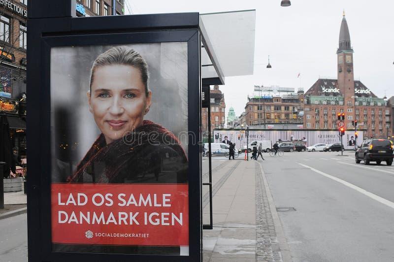 SOCIAL DEMOCRAT LEADER MS.METTE FREDERIKSEN. Copenhagen /Denmark - 12 January 2018_ .On billboard Ms. Mette Frederiksen party leader of danish social democrat royalty free stock photos