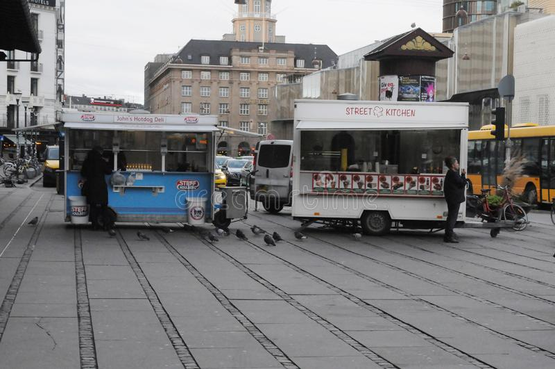 FAST FOOD WAGON IN COPENHAGEN DENMARK. Copenhagen/Denmark. 09.January 2019._ Fast food wagon street ktichen and hot dog wagon in danish capital Copenhagen royalty free stock images