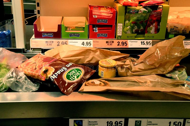 Food Grocery in German chain Lidl in Copenhagen Denmark. Copenhagen/Denmark. 07.January 2019._ Food Grocery in Germany in Lidl food market in Copenhagen Denmark royalty free stock photography