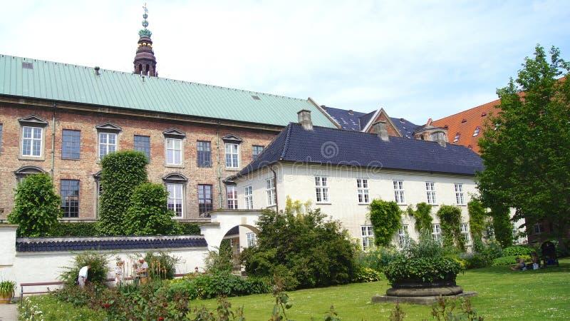 COPENHAGEN, DENMARK - JUL 04th, 2015: Royal Library Gardens, Christiansborg Palace in Copenhagen, small oasis in the stock photos