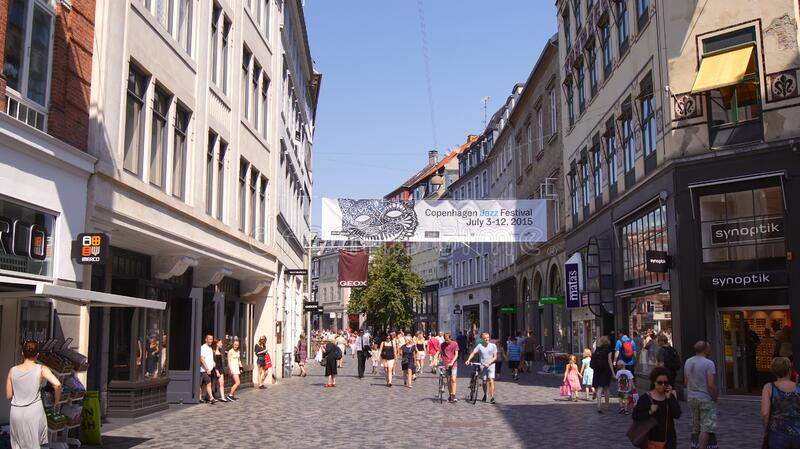 COPENHAGEN, DENMARK - JUL 04th, 2015: Architecture and buildings in the famous shopping street of Stroget in Copenhagen royalty free stock images