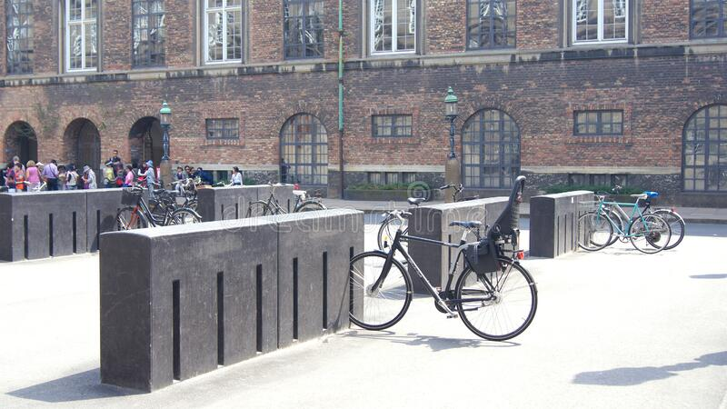 COPENHAGEN, DENMARK - JUL 04th, 2015: Bicycle parking in the city center royalty free stock photo