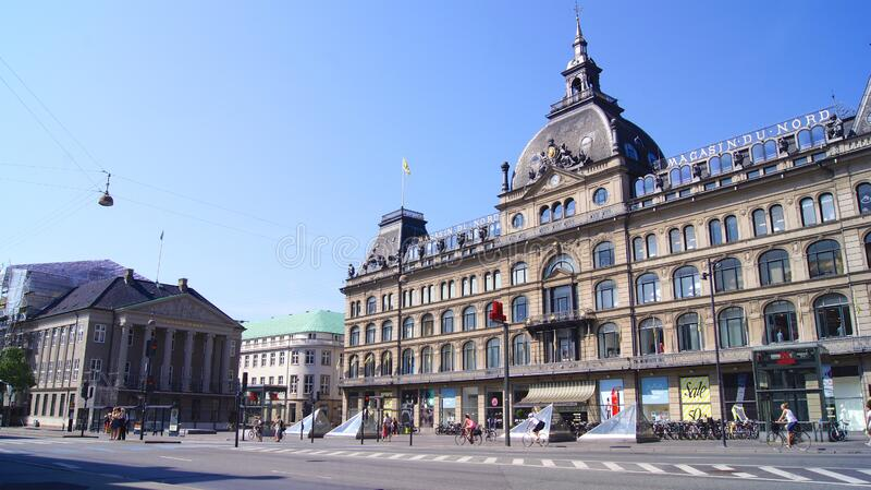 COPENHAGEN, DENMARK - JUL 04th, 2015: Main facade of the building of the Magasin du Nord warehouses, built inside an old stock photo