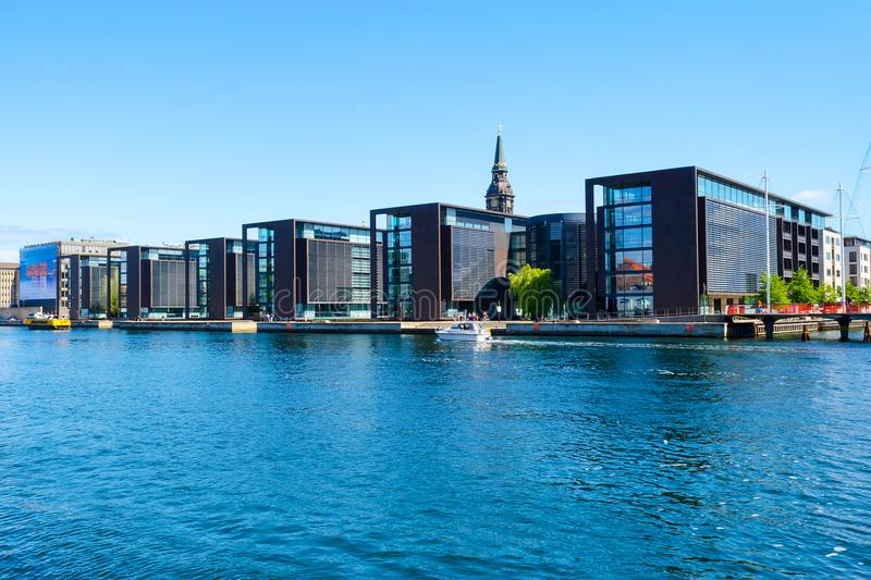 Copenhagen, Denmark - July 9, 2018. Beautiful modern architecture of Copenhagen on the bank of the canal. Architecture royalty free stock images