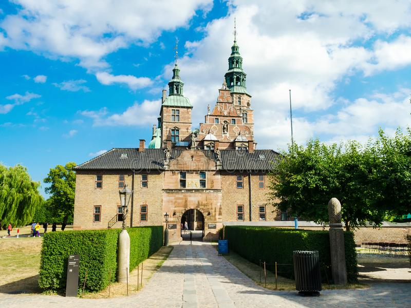 Copenhagen, Denmark - July 7, 2018. The gardens of Rosenborg Castle. The Royal Garden. European architecture. Sights. Travel. Copenhagen, Denmark - July 7, 2018 stock image