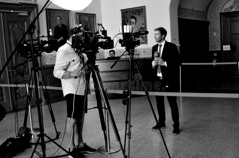 DANISH MEDIA COVERING NEW GOVT MEETING IN COPENHAGEN. Copenhagen /Denmark./ 11 June 2019/ . Denmark`s antional media t chrisiasn borg covering social democrat stock photography