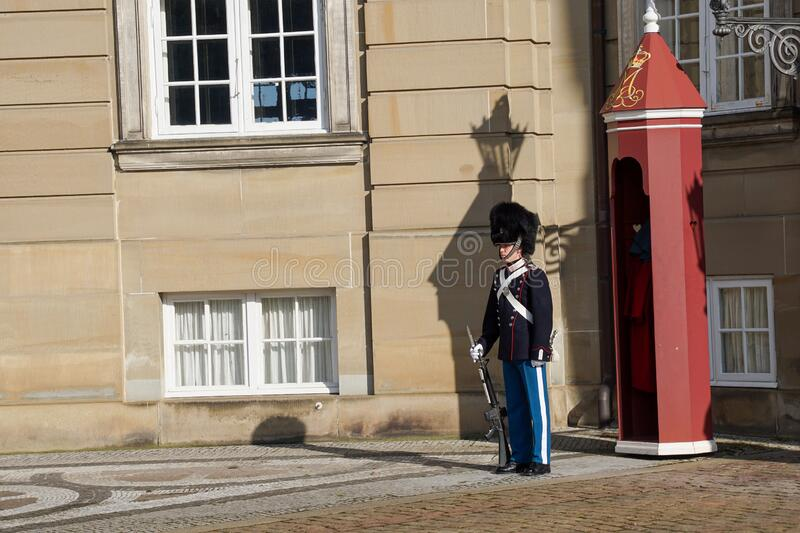 Royal Guard, Amalienborg stock image