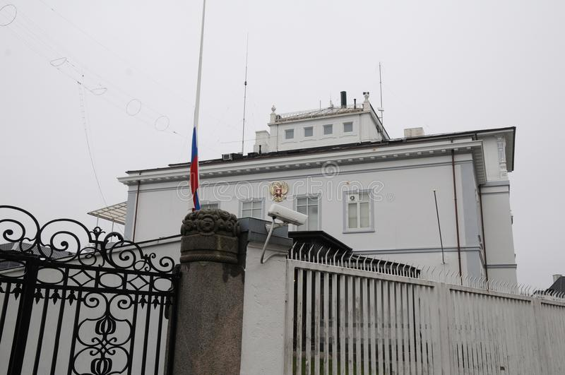 RUSSIAN FKAG AT HALF MAST AT RUSSIAN EMBASSY. Copenhagen/Denmark 27.March.2018_ Russian at half mast at russian embassy in Copenhagen denmark decided that will royalty free stock photos