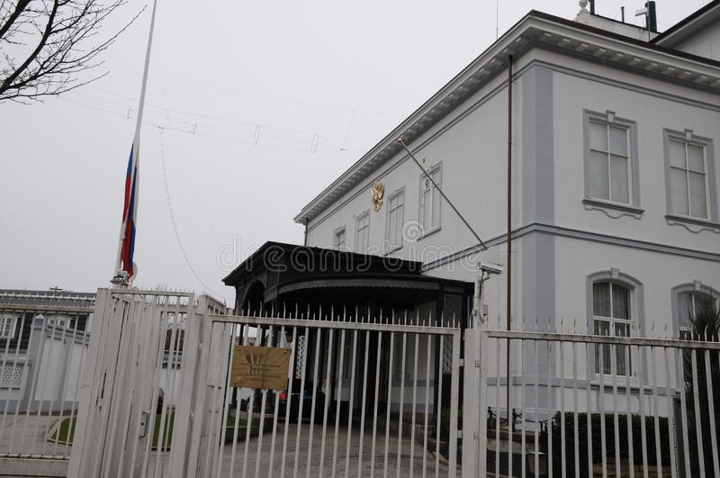 RUSSIAN FKAG AT HALF MAST AT RUSSIAN EMBASSY. Copenhagen/Denmark 27.March.2018_ Russian at half mast at russian embassy in Copenhagen denmark decided that will stock photos