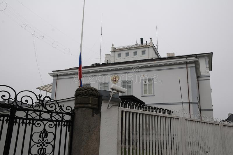 RUSSIAN FKAG AT HALF MAST AT RUSSIAN EMBASSY. Copenhagen/Denmark 27.March.2018_ Russian at half mast at russian embassy in Copenhagen denmark decided that will stock photo