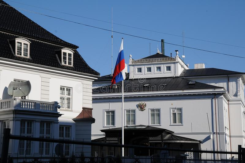 RUSSIAN EMBASSY IN COPENHAGEN DENMARK. Copenhagen/Denmark 30..March.2018_ Russian state will expel envoy from Denmark, usa and other european countries, Russian royalty free stock photo